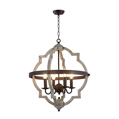 20 In W Transitional 4 Light Hall Or Foyer Light Fixture Stardust Two Toned Finish Wood Metal Chandelier Industrial Farmhouse Open Quatrefoil 0