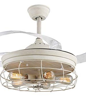 42 Ceiling Fans Invisible Retractable Blades Farmhouse Industrial Pendant Lamp Chandelier Remote Control 5 Edison Bulbs Antique White Youtube Video Demo 0 300x351