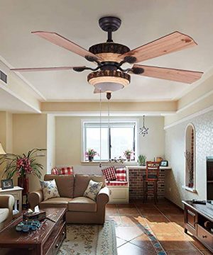 52 Inch Rustic Ceiling Fan With Lights And Remote Silent Fans Chandelier With 1 Resin 5 Reversible Wood Blades For Living Room Bedroom 0 0 300x360