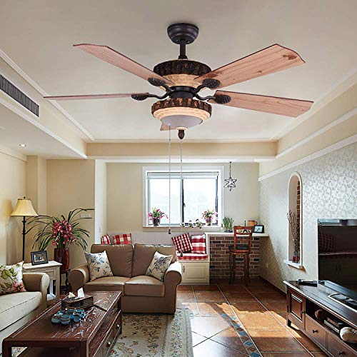 52 Inch Rustic Ceiling Fan With Lights And Remote Silent Fans Chandelier With 1 Resin 5 Reversible Wood Blades For Living Room Bedroom 0 0