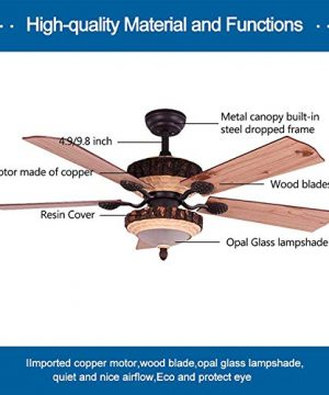 52 Inch Rustic Ceiling Fan With Lights And Remote Silent Fans Chandelier With 1 Resin 5 Reversible Wood Blades For Living Room Bedroom 0 1 300x360