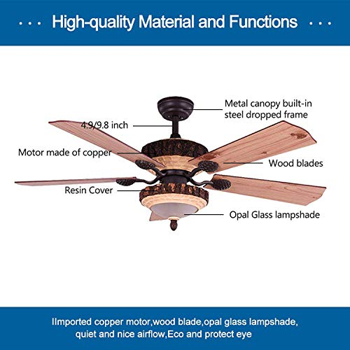 52 Inch Rustic Ceiling Fan With Lights And Remote Silent Fans Chandelier With 1 Resin 5 Reversible Wood Blades For Living Room Bedroom 0 1