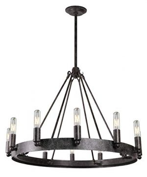 7Pandas 12 Light Indoor Retro Chandeliers E12 Antique Pendant Lighting For Living Room Dining Room Farmhouse Rustic Grey Metal 0 300x360
