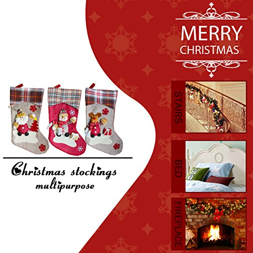Aitey Christmas Stocking 18 Set Of 3 Santa Snowman Reindeer Xmas Character 3D Plush With Faux Fur Cuff Christmas Decorations And Party Accessory Short Hat2 0 0
