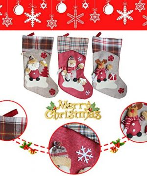 Aitey Christmas Stocking 18 Set Of 3 Santa Snowman Reindeer Xmas Character 3D Plush With Faux Fur Cuff Christmas Decorations And Party Accessory Short Hat2 0 1 300x360