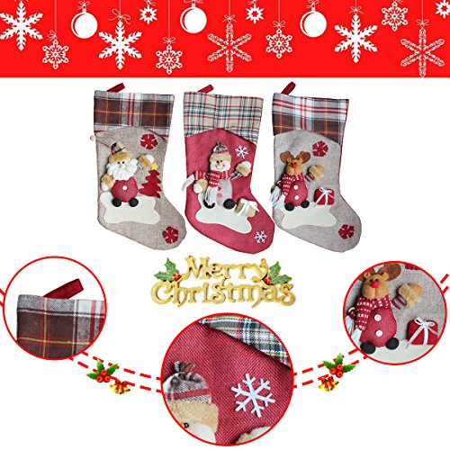 Aitey Christmas Stocking 18 Set Of 3 Santa Snowman Reindeer Xmas Character 3D Plush With Faux Fur Cuff Christmas Decorations And Party Accessory Short Hat2 0 1