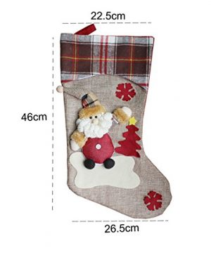 Aitey Christmas Stocking 18 Set Of 3 Santa Snowman Reindeer Xmas Character 3D Plush With Faux Fur Cuff Christmas Decorations And Party Accessory Short Hat2 0 2 300x360
