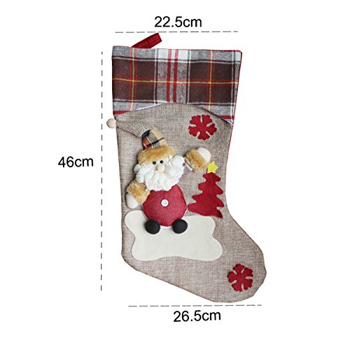 Aitey Christmas Stocking 18 Set Of 3 Santa Snowman Reindeer Xmas Character 3D Plush With Faux Fur Cuff Christmas Decorations And Party Accessory Short Hat2 0 2