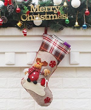 Aitey Christmas Stocking 18 Set Of 3 Santa Snowman Reindeer Xmas Character 3D Plush With Faux Fur Cuff Christmas Decorations And Party Accessory Short Hat2 0 3 300x360
