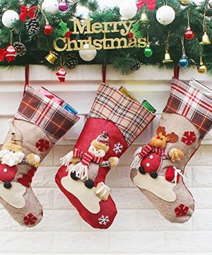 Aitey Christmas Stocking 18 Set Of 3 Santa Snowman Reindeer Xmas Character 3D Plush With Faux Fur Cuff Christmas Decorations And Party Accessory Short Hat2 0 300x360