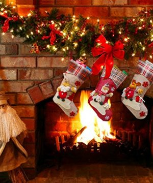 Aitey Christmas Stocking 18 Set Of 3 Santa Snowman Reindeer Xmas Character 3D Plush With Faux Fur Cuff Christmas Decorations And Party Accessory Short Hat2 0 4 300x360