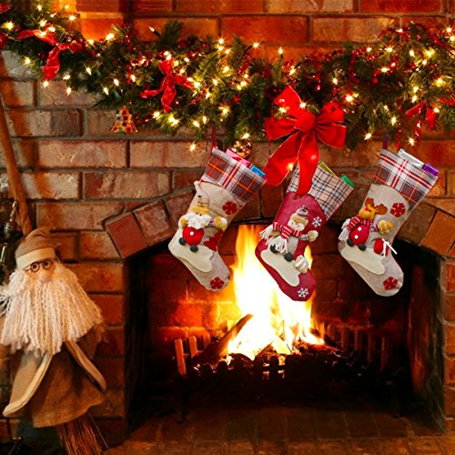 Aitey Christmas Stocking 18 Set Of 3 Santa Snowman Reindeer Xmas Character 3D Plush With Faux Fur Cuff Christmas Decorations And Party Accessory Short Hat2 0 4
