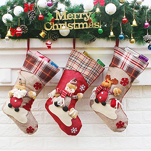 Aitey Christmas Stocking 18 Set Of 3 Santa Snowman Reindeer Xmas Character 3D Plush With Faux Fur Cuff Christmas Decorations And Party Accessory Short Hat2 0