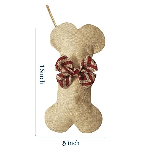 BYT Collections New Linen Dog Bone Christmas Stockings For Pet Jute Natural Burlap Holidays 16 Inches X 8 Inches 1 Red Bowknot 1 Pack 0 0