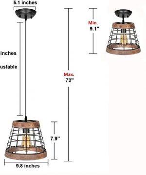 Baiwaiz Farmhouse Light Wood Rustic Kitchen Pendant Island Lighting Metal Cage Hanging Light Fixture 1 Light Edison E26 064 0 0 300x360
