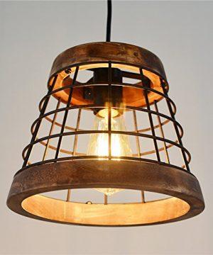 Baiwaiz Farmhouse Light Wood Rustic Kitchen Pendant Island Lighting Metal Cage Hanging Light Fixture 1 Light Edison E26 064 0 1 300x360