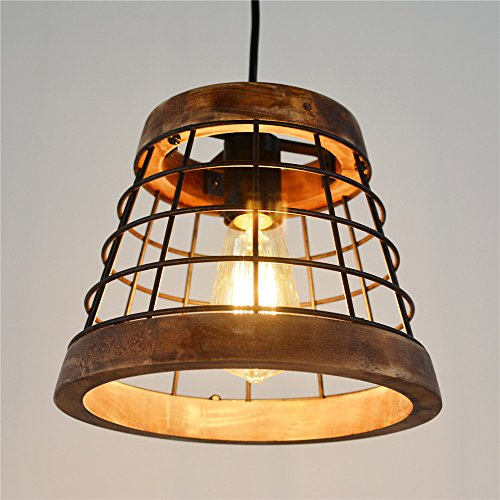 Baiwaiz Farmhouse Light Wood Rustic Kitchen Pendant Island Lighting Metal Cage Hanging Light Fixture 1 Light Edison E26 064 0 1