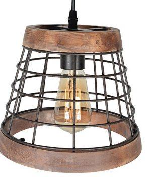 Baiwaiz Farmhouse Light Wood Rustic Kitchen Pendant Island Lighting Metal Cage Hanging Light Fixture 1 Light Edison E26 064 0 2 300x360