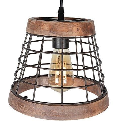 Baiwaiz Farmhouse Light Wood Rustic Kitchen Pendant Island Lighting Metal Cage Hanging Light Fixture 1 Light Edison E26 064 0 2