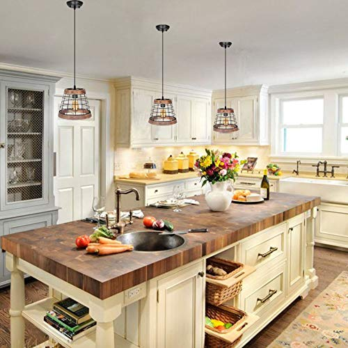 Baiwaiz Farmhouse Light, Wood Rustic Kitchen Pendant Island Lighting Metal  Cage Hanging Light Fixture 1 Light Edison E26 064