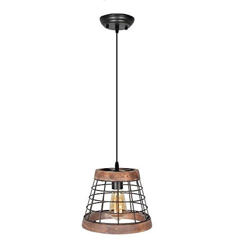 Baiwaiz Farmhouse Light Wood Rustic Kitchen Pendant Island Lighting Metal Cage Hanging Light Fixture 1 Light Edison E26 064 0