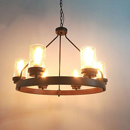 Baiwaiz Round Farmhouse Chandelier Metal Rustic Pendant Chandelier Lighting With Clear Seeded Glass Shade Living Room Chandelier 6 Lights Edison E26 092 0 1