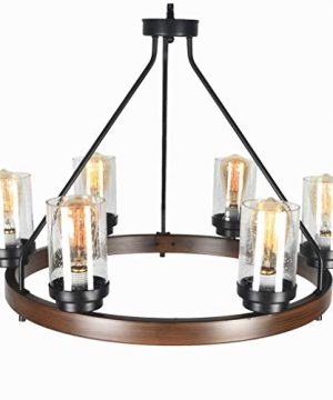 Baiwaiz Round Farmhouse Chandelier Metal Rustic Pendant Chandelier Lighting With Clear Seeded Glass Shade Living Room Chandelier 6 Lights Edison E26 092 0 2 300x360