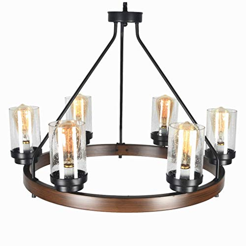 Baiwaiz Round Farmhouse Chandelier Metal Rustic Pendant Chandelier Lighting With Clear Seeded Glass Shade Living Room Chandelier 6 Lights Edison E26 092 0 2