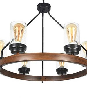 Baiwaiz Round Farmhouse Chandelier Metal Rustic Pendant Chandelier Lighting With Clear Seeded Glass Shade Living Room Chandelier 6 Lights Edison E26 092 0 3 300x360