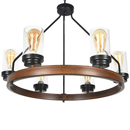 Baiwaiz Round Farmhouse Chandelier Metal Rustic Pendant Chandelier Lighting With Clear Seeded Glass Shade Living Room Chandelier 6 Lights Edison E26 092 0 3