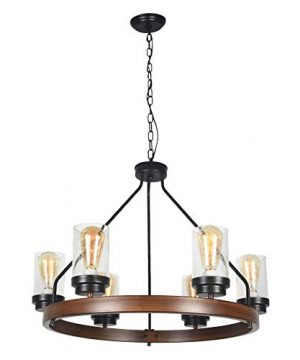 Baiwaiz Round Farmhouse Chandelier Metal Rustic Pendant Chandelier Lighting With Clear Seeded Glass Shade Living Room Chandelier 6 Lights Edison E26 092 0 300x360