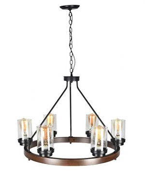 Baiwaiz Round Farmhouse Chandelier Metal Rustic Pendant Chandelier Lighting With Clear Seeded Glass Shade Living Room Chandelier 6 Lights Edison E26 092 0 4 300x360