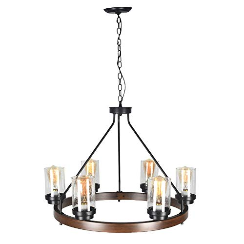 Baiwaiz Round Farmhouse Chandelier Metal Rustic Pendant Chandelier Lighting With Clear Seeded Glass Shade Living Room Chandelier 6 Lights Edison E26 092 0 4