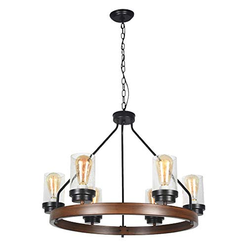 Baiwaiz Round Farmhouse Chandelier Metal Rustic Pendant Chandelier Lighting With Clear Seeded Glass Shade Living Room Chandelier 6 Lights Edison E26 092 0
