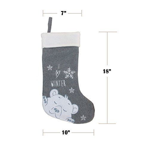 BambooMN 3 Pcs Set 18 Classic Hand Embroidered Sequined Cute Animal Chirstmas Stocking Assortment 96 0 2
