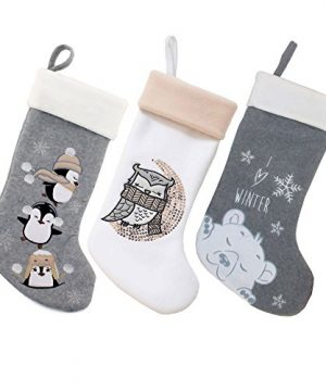 BambooMN 3 Pcs Set 18 Classic Hand Embroidered Sequined Cute Animal Chirstmas Stocking Assortment 96 0 300x360