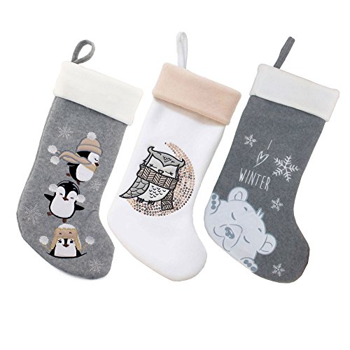 BambooMN 3 Pcs Set 18 Classic Hand Embroidered Sequined Cute Animal Chirstmas Stocking Assortment 96 0