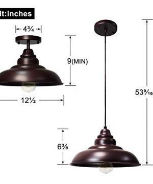 Barn Pendant Lights FINXIN 1 Light Hanging Light For Kitchen Dining Table FXPL01 Oil Rubbed Bronze 12 Ceiling Dome Pendant Lighting E26 Base Bronze 0 2 300x360