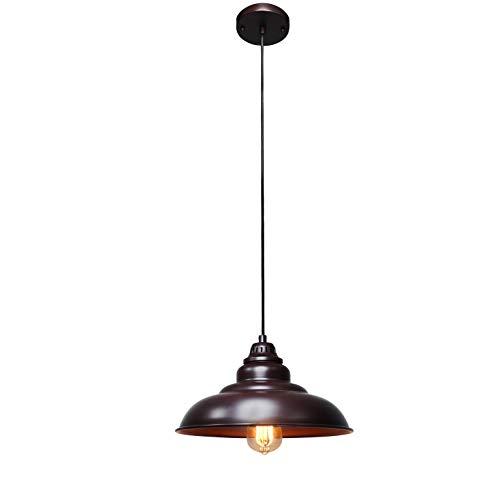 Barn Pendant Lights FINXIN 1 Light Hanging Light For Kitchen Dining Table FXPL01 Oil Rubbed Bronze 12 Ceiling Dome Pendant Lighting E26 Base Bronze 0 3