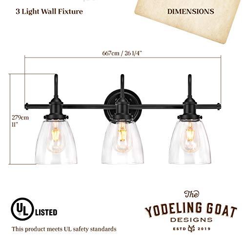 Bathroom Light Fixture Farmhouse Vintage Industrial 3 Light Bathroom Black Vanity Light Fixture 0 4