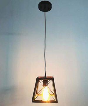 Beuhouz Lighting Farmhouse Hanging Lighting 1 Light Metal And Wood Kitchen Pendant Light Rustic Cage Island Lighting Edison E26 8002 0 1 300x360