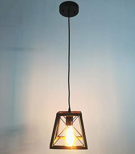 Beuhouz Lighting Farmhouse Pendant 1 Light Metal And Wood Rustic Hanging Kitchen Cage Island Edison E26 8002