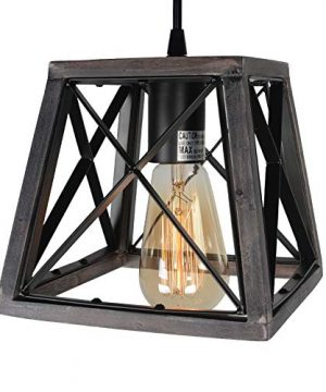Beuhouz Lighting Farmhouse Hanging Lighting 1 Light Metal And Wood Kitchen Pendant Light Rustic Cage Island Lighting Edison E26 8002 0 2 300x360