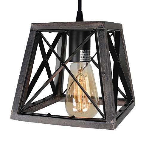 Beuhouz Lighting Farmhouse Hanging Lighting 1 Light Metal And Wood Kitchen Pendant Light Rustic Cage Island Lighting Edison E26 8002 0 2