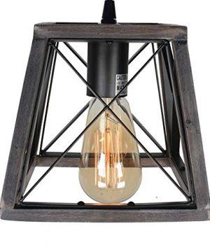 Beuhouz Lighting Farmhouse Hanging Lighting 1 Light Metal And Wood Kitchen Pendant Light Rustic Cage Island Lighting Edison E26 8002 0 3 300x360