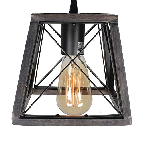 Beuhouz Lighting Farmhouse Hanging Lighting 1 Light Metal And Wood Kitchen Pendant Light Rustic Cage Island Lighting Edison E26 8002 0 3