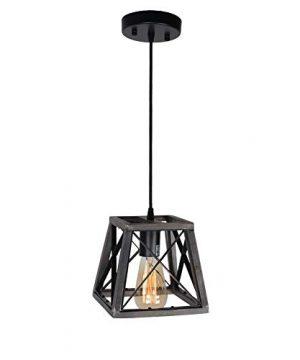 Beuhouz Lighting Farmhouse Hanging Lighting 1 Light Metal And Wood Kitchen Pendant Light Rustic Cage Island Lighting Edison E26 8002 0 4 300x360