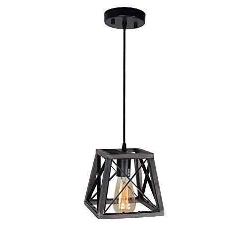 Beuhouz Lighting Farmhouse Hanging Lighting 1 Light Metal And Wood Kitchen Pendant Light Rustic Cage Island Lighting Edison E26 8002 0 4