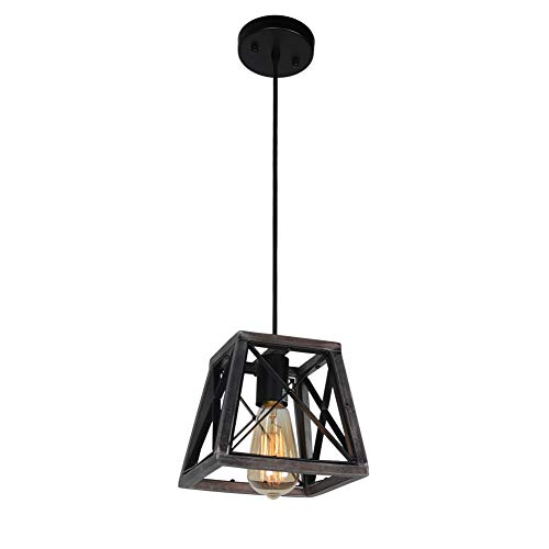 Beuhouz Lighting Farmhouse Hanging 1 Light Metal And Wood Kitchen Pendant Rustic Cage Island Edison E26 8002