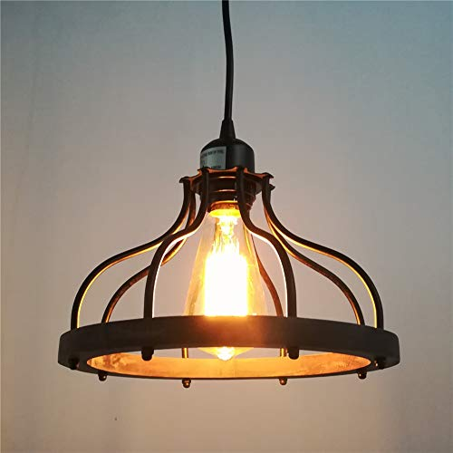 Beuhouz Round Farmhouse Pendant Light 1 Light Metal And Wood Hanging Light Fixture Rustic Kitchen Island Lighting Edison E26 8008 0 1